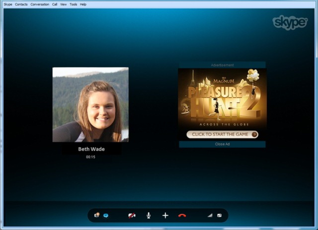 Oof! Skype baga reclame in fereastra de audio chat pe PC