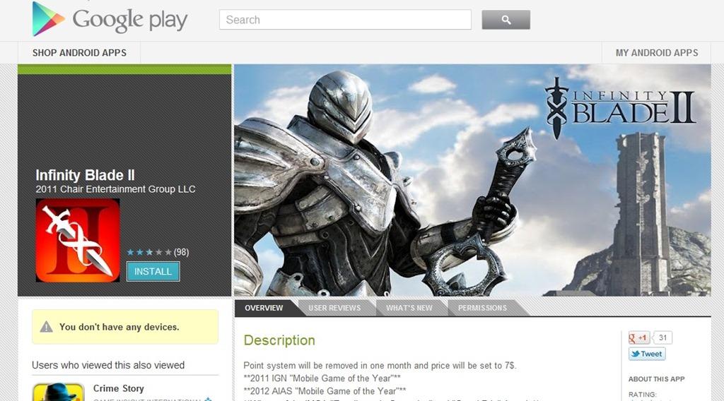 Inca o pacaleala pe Google Play –  Infinity Blade II