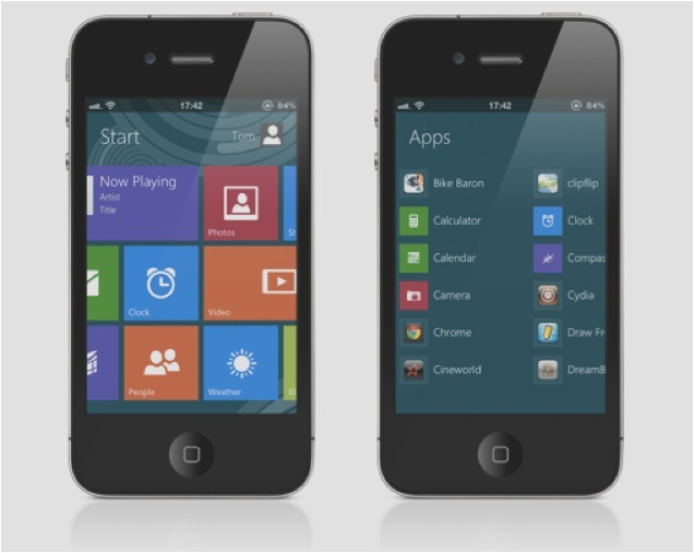Interfata de Windows 8 ajunge pe iPhone –  merge de minune