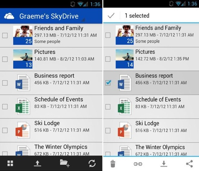 Android Skydrive