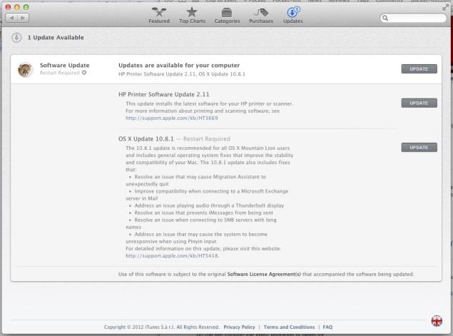 OS X 10.8.1 –  primul update major la Mountain Lion