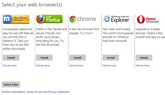 Microsoft te ajuta sa-ti alegi un browser si in Windows 8
