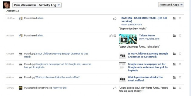 Facebook activity log search history