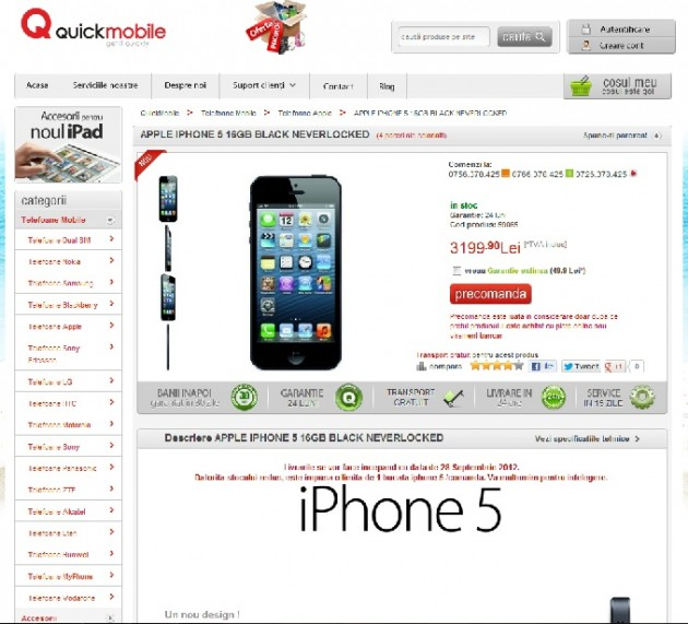 Pret iPhone 5 QuickMobile
