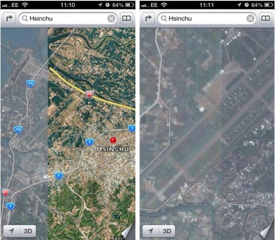 Apple iOS 6 Maps Hsinchu Taiwan