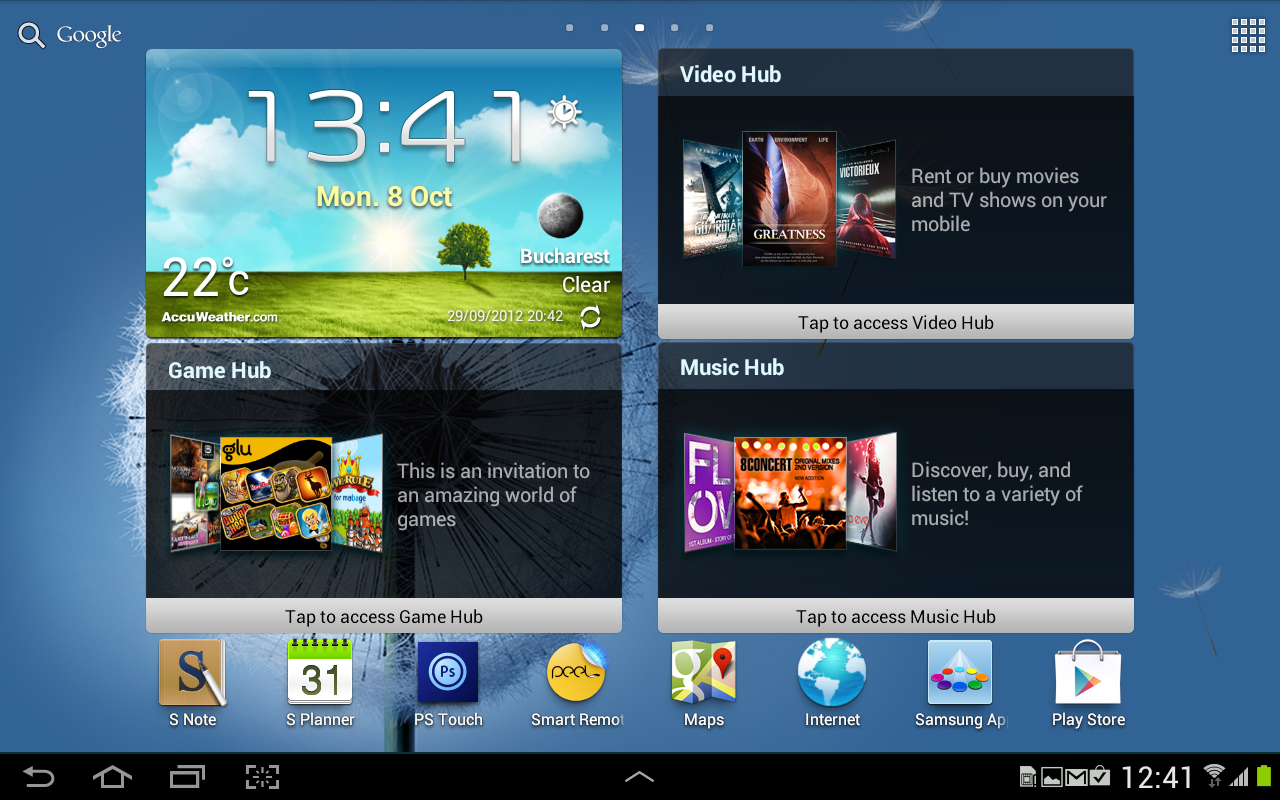 Samsung Galaxy Note 10.1 Homescreen