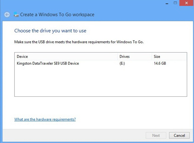 Windows to Go workapace