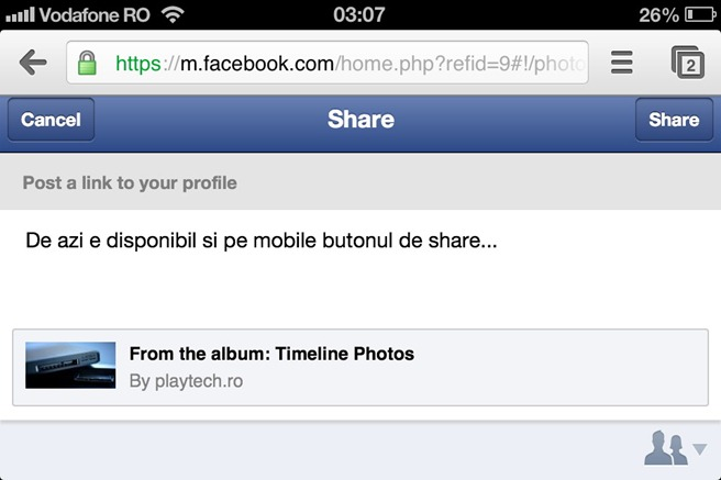 Update Facebook Mobile Share
