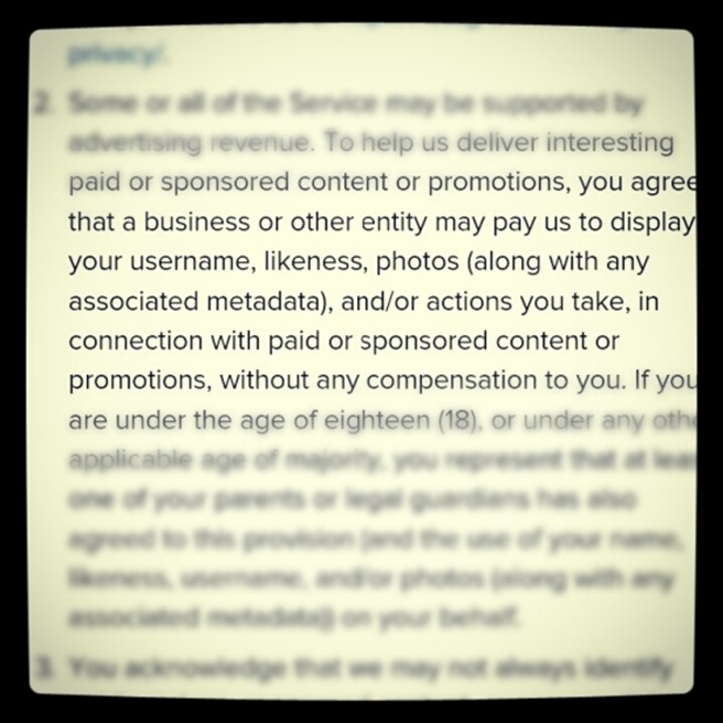 Instagram policy termeni si conditii