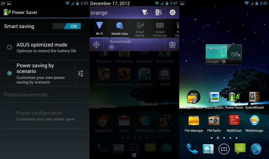 Asus Padfone 2 Power Save Notifications Apps