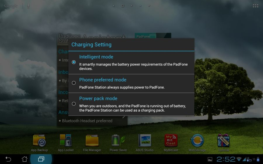 Asus Padfone 2 Power Options