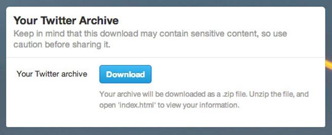 Twitter download la arhiva istoric