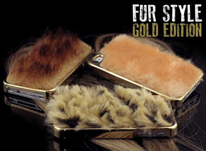 Fur style gold iphone carcasa