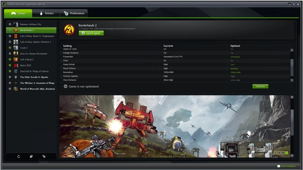 GeForce Experience Beta: cu feedback pe hardware, joci fara griji!
