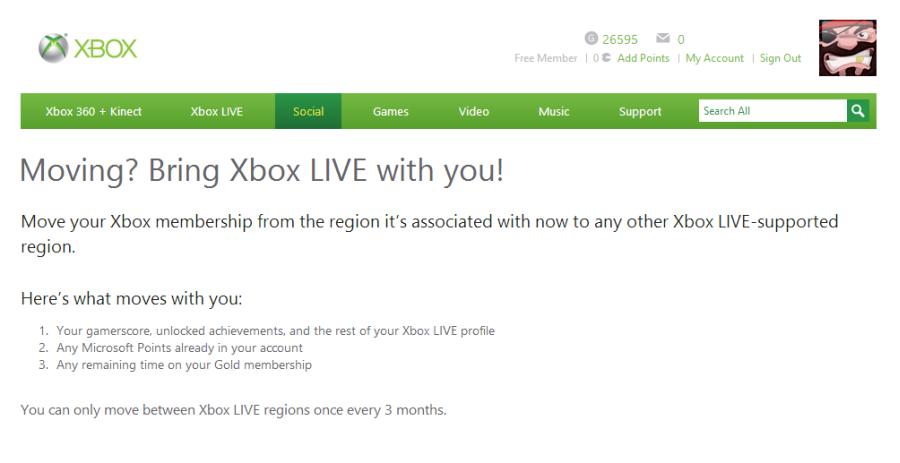 Xbox Live ofera metoda simpla de schimbare a regiunii