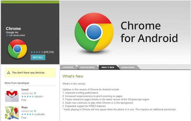 Google Chrome for Android Update