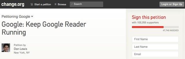 100.000 de semnaturi pentru salvarea Google Reader