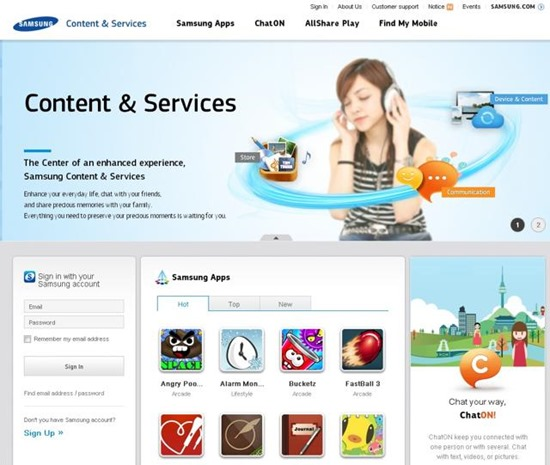 samsung content and services magazin virtual