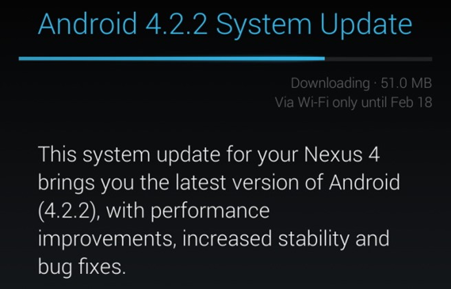 Nexus 4 Android 4.2.2 update