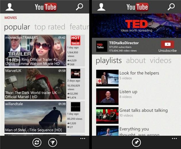 Aplicatia YouTube Windows Phone 8