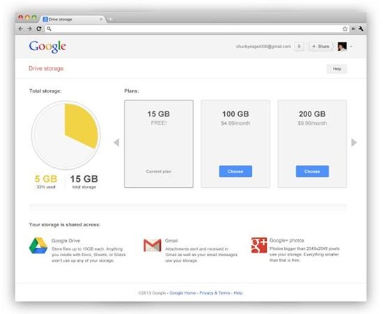 google drive storage gmail Google