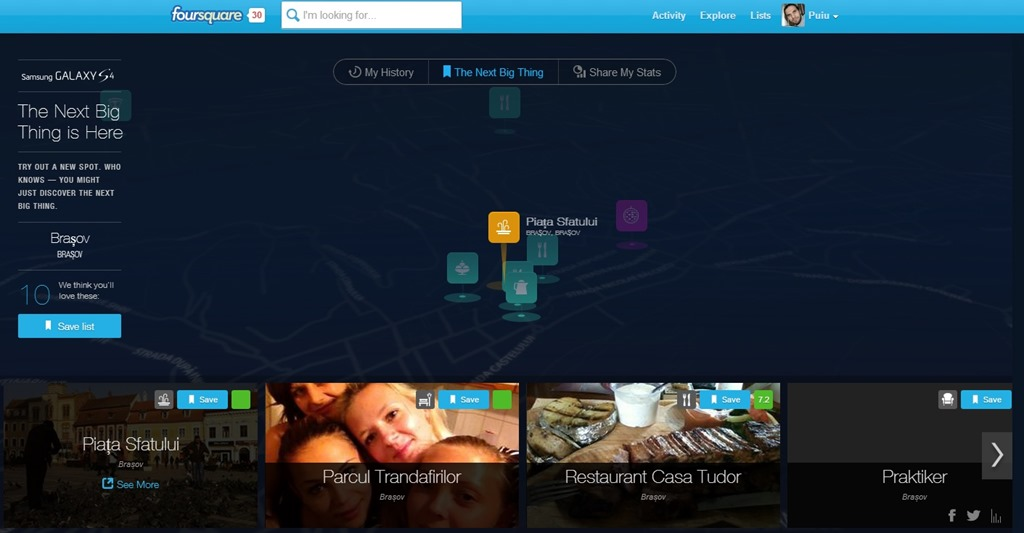Noul Foursquare vine cu un modul interesant numit Time Machine