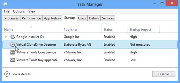 Microsoft Windows 8 Task Manager startuo