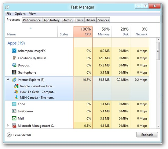 Microsoft Windows 8 Task Manager