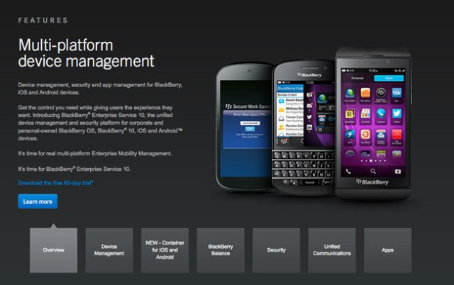 Serviciul BlackBerry Secure Work Space ajunge si pe iOS si Android