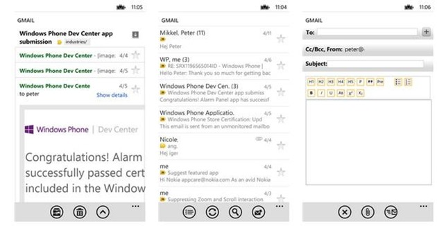 gmail windows Phone iPhone