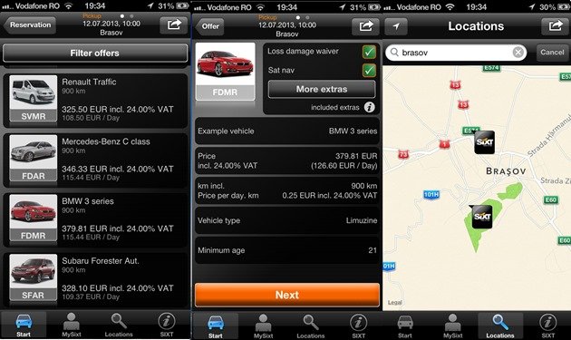 Sixt Rent a car iOS android windows phone