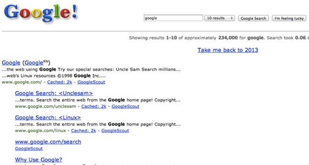 Easter egg Google Search google in1998