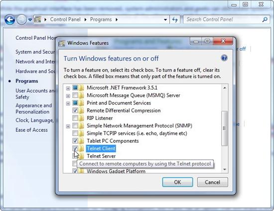 Install Windows Telnet Client
