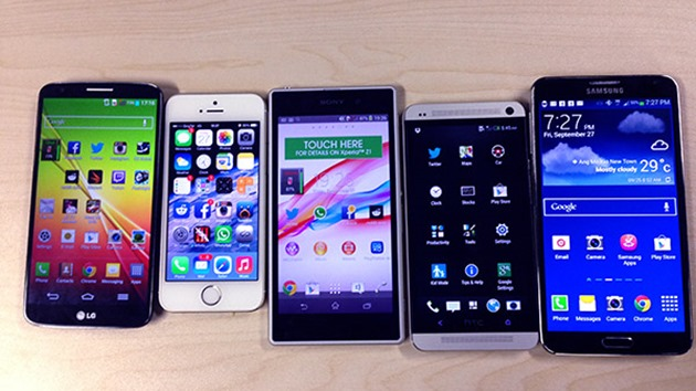 iphone 5S vs HTC One vs LG G2 vs Samsung Galaxy Note 3 vs Sony Xperia Z1
