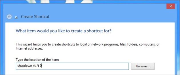 scurtatura windows shutdown restart