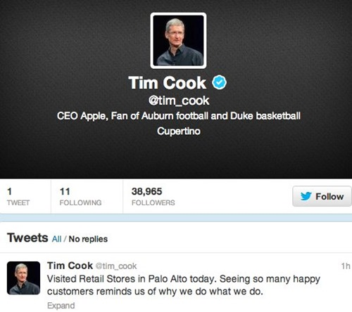 tim cook apple ceo twitter account