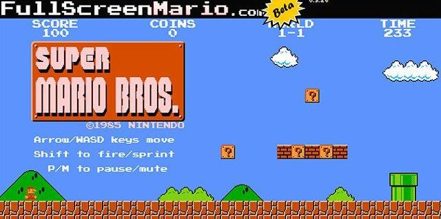Full Screen Mario este o versiune in format HTML5 a popularului joc