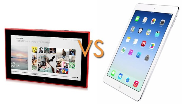 Apple iPad Air iOS vs Nokia Lumia 2520 Windows RT