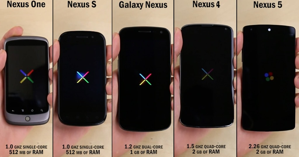 Nexus 5 vs Nexus 4 vs Galaxy Nexus vs Nexus S vs Nexus One [VIDEO]