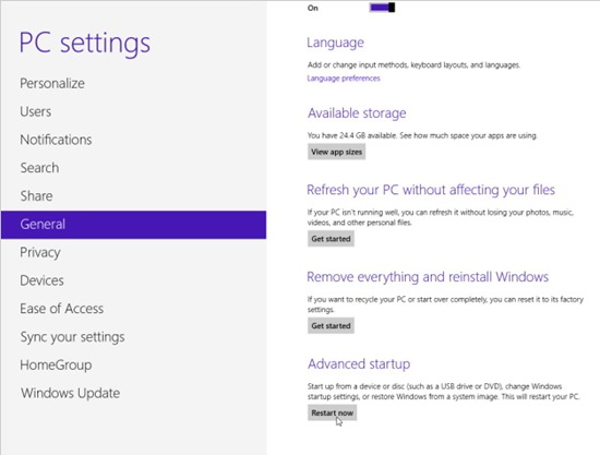 Windows 8.1 - refresh reset