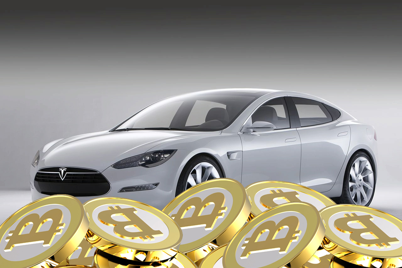 Automobil electric Tesla S moneda BitCoin