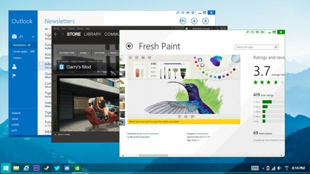 Microsoft Windows 8.2 concept aplicatii metro desktop