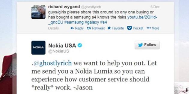 Nokia Samsung Twitter campanie reclama