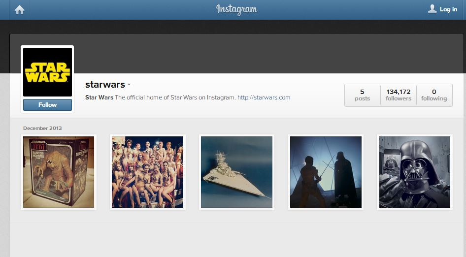Star Wars pagina instagram