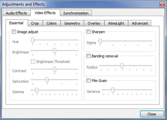 VLC efecte audio videio