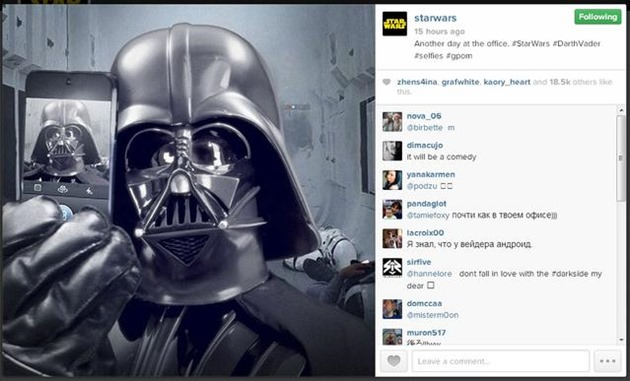 darth-vader star wars instagram account