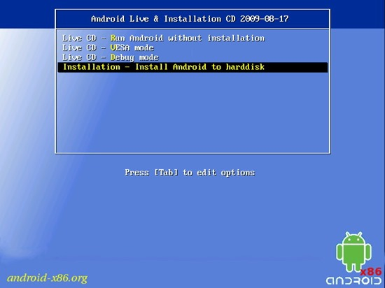 InstallBootSelect android-x86 android pe pc