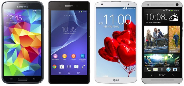 galaxy s5 vs xperia z2 vs lg g pro 2 vs htc one compare