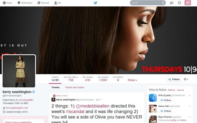 Scandal Twitter Facebook redesign clona