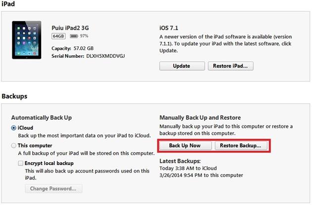 Backup la iPhone si iPad iTunes